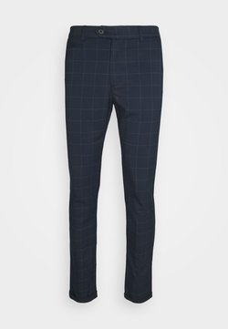 Les Deux - COMO CHECK SUIT PANTS - Stoffhose - dark navy/light grey melange