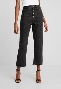 Missguided - WRATH BUTTON HIGH RISE STRAIGHT LEG - Straight leg jeans - black