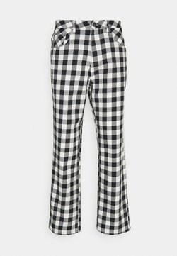 Afends - NINETY TWOS GINGHAM RELAXED FIT PANT - Stoffhose - black/white