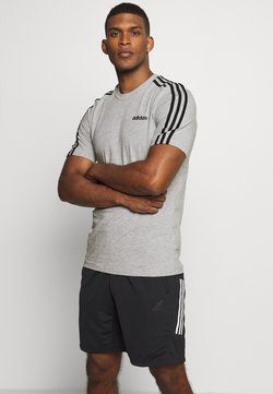 adidas Performance - ESSENTIALS SPORTS SHORT SLEEVE TEE - Camiseta estampada - medium grey heather/black