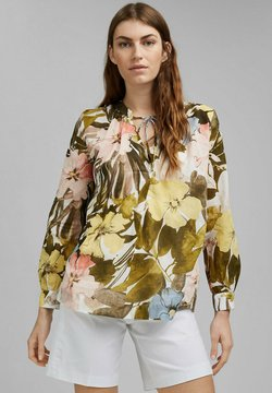 Esprit Collection - MIT PRINT, 100% BAUMWOLLE - Bluse - olive