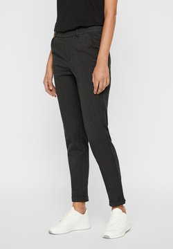 Vero Moda - VMMAYA LOOSE SOLID PANT  - Trousers - dark grey melange