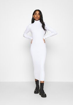 Missguided - ROLL NECK MIDI DRESS - Stickad klänning - off white