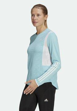 adidas Performance - OWN THE RUN 3-STRIPES RUNNING LONG-SLEEVE TOP - Camiseta de manga larga - blue