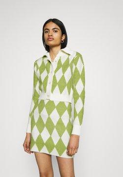 Glamorous - COLLAR CARDIGAN - Vest - green/off white