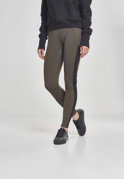 Urban Classics Curvy - LADIES CAMO STRIPED - Leggings - Hosen - olive/black