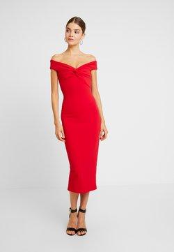 Missguided - BARDOT TWIST DETAIL MIDI DRESS - Cocktailkleid/festliches Kleid - red