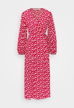 Glamorous - LONG SLEEVE WRAP DRESS WITH V NECK - Day dress - red / white