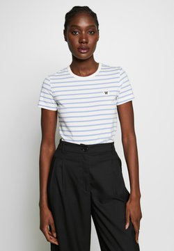 Wood Wood - UMA  - T-Shirt print - off-white/blue stripes