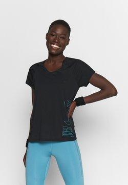Nike Performance - ICON CLASH MILER  - Camiseta estampada - black/chlorine blue