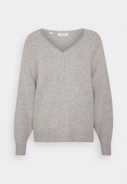Selected Femme Petite - SLFMOLLY VNECK - Jersey de punto - light grey melange