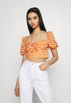 Glamorous - MAYA RUCHED BUST CROP TOP WITH FRONT TIE DETAIL PUFF SHORT SLEEVES - Bluse - rust gingham