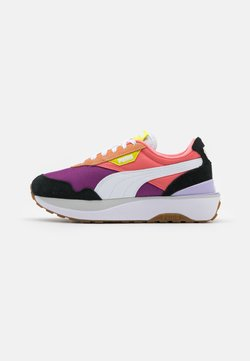 Puma - CRUISE RIDER SILK ROAD - Matalavartiset tennarit - black/white/nrgy yellow