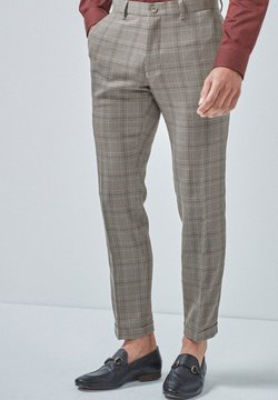 Next - TAUPE CHECK SKINNY FIT TROUSERS - Anzughose - brown
