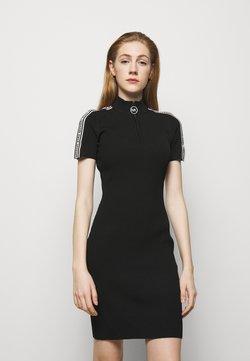 MICHAEL Michael Kors - HALF ZIP LOGO TAPE DRESS - Vestido de punto - black