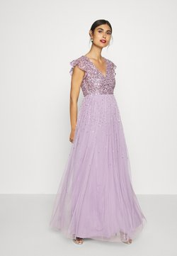 Maya Deluxe - V NECK FLUTTER SLEEVE DRESS WITH SCATTERED SEQUINS - Vestido de fiesta - lavender