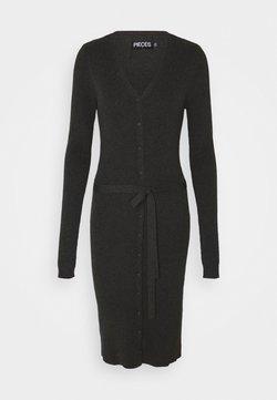 Pieces Petite - PCFRENCH V NECK DRESS - Vestido de punto - dark grey melange