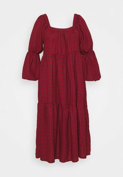 Missguided Plus - DOGTOOTH SMOCK DRESS - Freizeitkleid - red