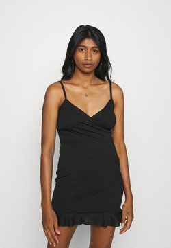 Missguided - WRAP CAMI RUFFLE MINI DRESS - Cocktailkleid/festliches Kleid - black