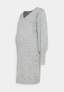Pieces Maternity - PCMPAM VNECK DRESS - Sukienka dzianinowa - light grey melange