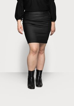 Pieces Curve - PCPARO COATED SKIRT - Bleistiftrock - black