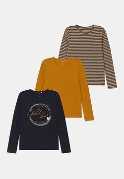 Name it - NKFRAVLINE 3 PACK - T-shirt à manches longues - dark blue/mustard yellow
