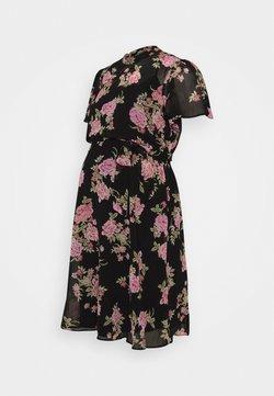 Dorothy Perkins Maternity - FLORAL FIT & FLARE - Vestido ligero - black/rose