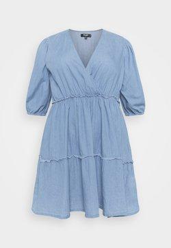Missguided Plus - CHAMBRAY TIERED BALLOON MINI DRESS - Kjole - blue