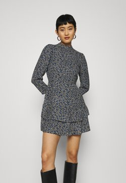 Dorothy Perkins - SHEERED NECK MINI DRESS DITSY PRINT - Freizeitkleid - black