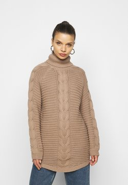 Pieces Petite - PCDIGA ROLL NECK LONG - Strickpullover - taupe gray