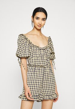 Missguided - GINGHAM PLAYSUIT - Jumpsuit - yellow