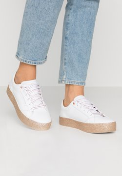 Tommy Hilfiger - GLITTER FOXING DRESS SNEAKER - Sneakers - white/gold
