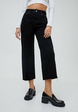 PULL&BEAR - CROPPED - Straight leg -farkut - black