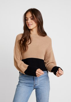 Even&Odd - Cropped jumper - Jersey de punto - sand/black