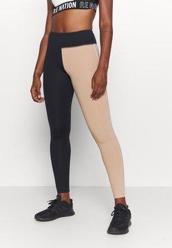 Casall - BLOCK HIGH WAIST - Tights - black/clean beige