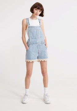 Superdry - LACE BOYSHORT - Dungarees - light indigo stripe