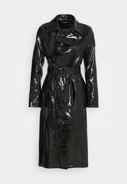 Missguided - CROC BELTED MAXI - Trenchcoat - black