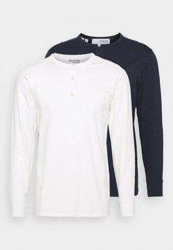 Selected Homme - SLHBAKER SPLIT NECK 2 PACK - Pitkähihainen paita - navy blazer/egret