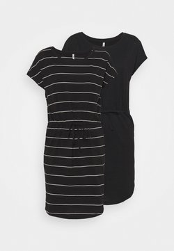 ONLY Petite - ONLMAY LIFE DRESS 2 PACK - Jerseyjurk - black/thin stripe/black solid