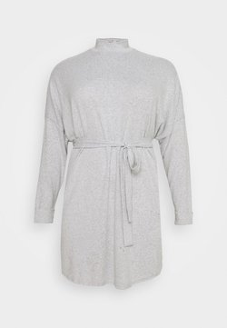 Noisy May Curve - NMCITY AVA SHORT DRESS - Vestido de punto - light grey melange