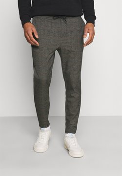 Only & Sons - ONSLINUS CROP CHECK PANTS - Stoffhose - grey melange