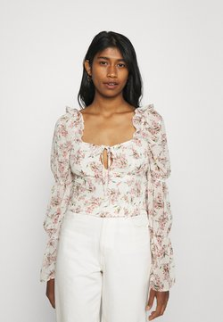 Missguided - FLORAL FRILL SHOULDER TIE NECK BLOUSE - Bluse - cream