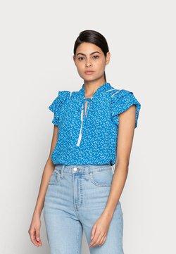 Esqualo - TOP RUFFLES SUMMER LEAF - Bluse - blue