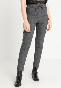 ONLY - ONLPOPTRASH SOFT CHECK PANT - Stoffhose - black/cloud dancer