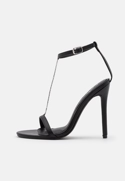 Missguided - SIMPLE CHAIN T BAR  - Sandales à talons hauts - black