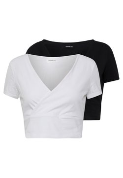 Even&Odd - 2 PACK - T-shirt z nadrukiem - black/white