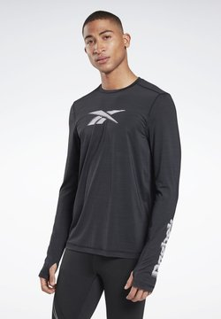 Reebok - RUN ACTIVCHILL LONG SLEEVE GRAPHIC T-SHIRT - Maglietta a manica lunga - black