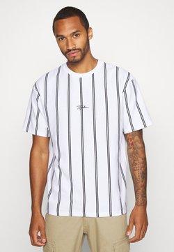 Topman - STRIPE SIGNATURE TEE - T-shirt imprimé - white