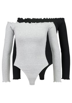 Missguided - LETTUCE HEM BARDOT BODYSUIT 2 PACK - Langarmshirt - grey/black