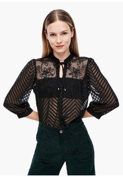 Q/S designed by - MIT TRANSPARENZ-EFFEKT - Bluse - black